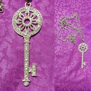 Fancy rhinestone skeleton key necklace
